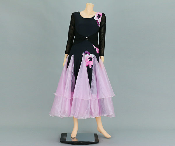 社交ダンス/社交ダンス衣装/衣装/社交ダンスドレス/ドレス/ウェア/ダンスウェア/フリーサイズ/ブラック/ピンク