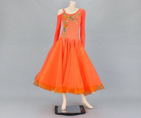 社交ダンス/社交ダンス衣装/衣装/社交ダンスドレス/ドレス/ウェア/ダンスウェア/Mサイズ/オレンジ