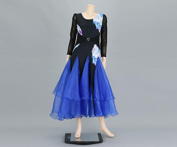 社交ダンス/社交ダンス衣装/衣装/社交ダンスドレス/ドレス/ウェア/ダンスウェア/フリーサイズ/ブラック/ブルー 黒/青
