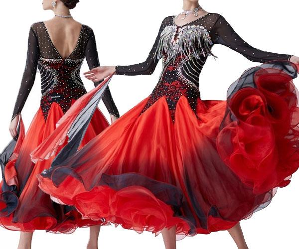 社交ダンス/社交ダンス衣装/衣装/社交ダンスドレス/ドレス/ウェア/ダンスウェア/Mサイズ/ブラック/レッド 黒/赤