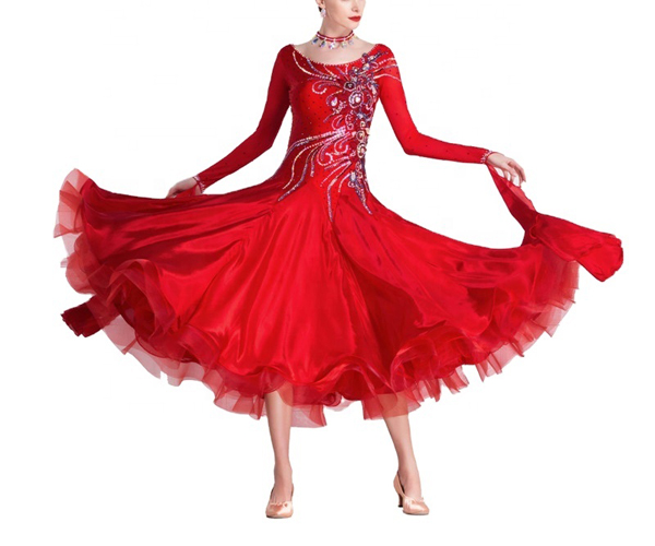 社交ダンス/社交ダンス衣装/衣装/社交ダンスドレス/ドレス/ウェア/ダンスウェア/Mサイズ/レッド 赤
