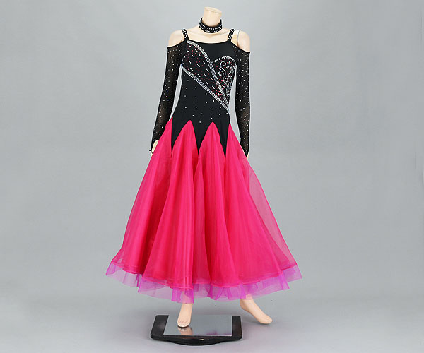 社交ダンス/社交ダンス衣装/衣装/社交ダンスドレス/ドレス/ウェア/ダンスウェア/Mサイズ/ブラック/ピンク ホーステープ部分はやや紫がかった色