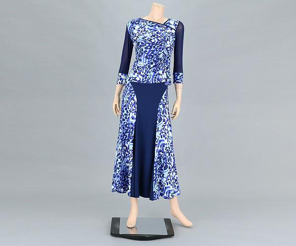 社交ダンス/社交ダンス衣装/衣装/ワンピース/ウェア/ダンスウェア/フリーサイズ/ブルー 青