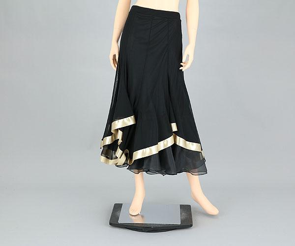 社交ダンス/社交ダンス衣装/衣装/スカート/ウェア/ダンスウェア/Mサイズ/黒/ゴールド
