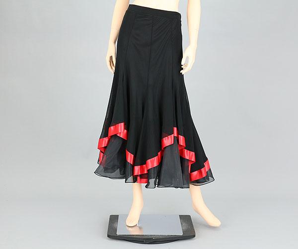 社交ダンス/社交ダンス衣装/衣装/スカート/ウェア/ダンスウェア/フリーサイズ/ブラック/レッド