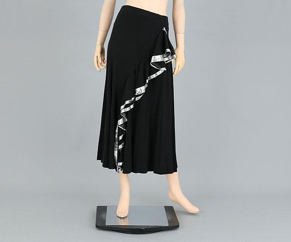 社交ダンス/社交ダンス衣装/衣装/スカート/ウェア/ダンスウェア/フリーサイズ/ブラック/シルバー