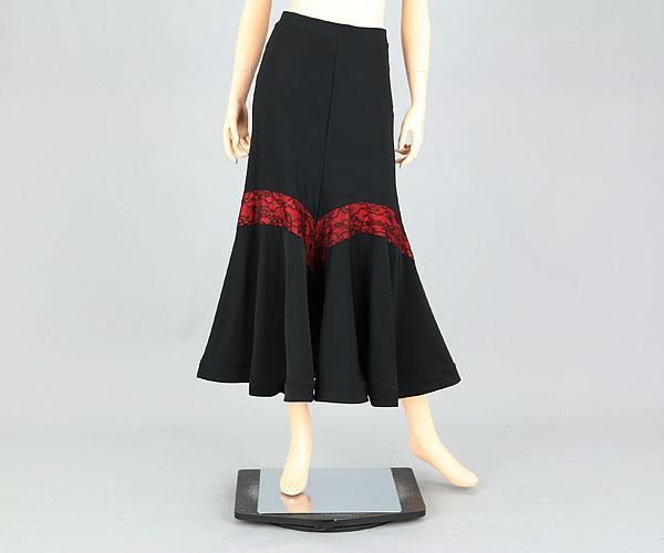 社交ダンス/社交ダンス衣装/衣装/スカート/ウェア/ダンスウェア/フリーサイズ/ブラック/レッド 黒/赤