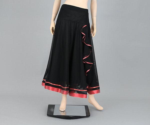 社交ダンス/社交ダンス衣装/衣装/スカート/ウェア/ダンスウェア/フリーサイズ/黒 赤パイピング