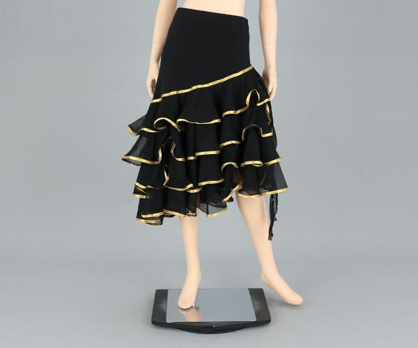 社交ダンス/社交ダンス衣装/衣装/スカート/ウェア/ダンスウェア/フリーサイズ/黒 パイピング/ゴールド