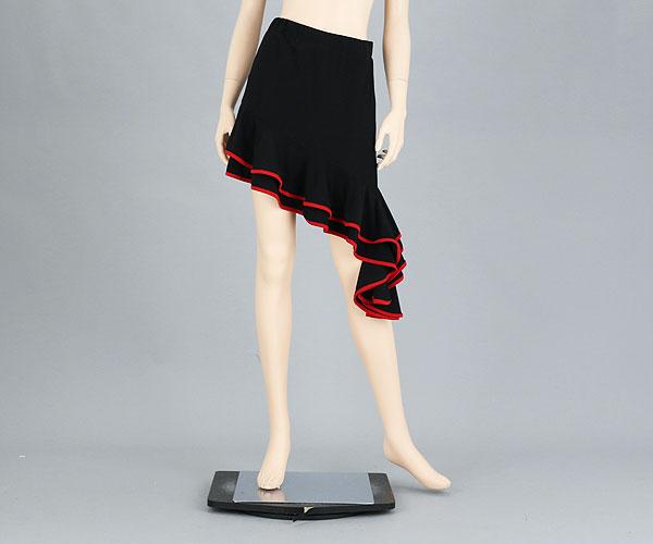 社交ダンス/社交ダンス衣装/衣装/スカート/ウェア/ダンスウェア/フリーサイズ  /黒 赤パイピング