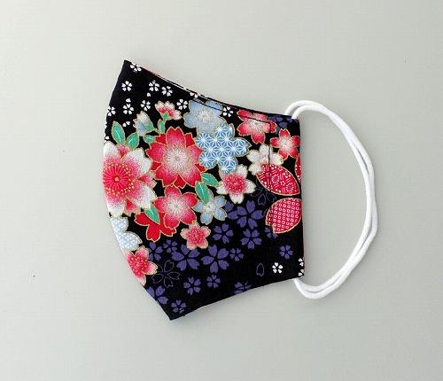 ランキング総合1位 安心の日本製 洗って何度も使える 国内即発送 和柄立体マスク 大桜 着物 成人式 黒