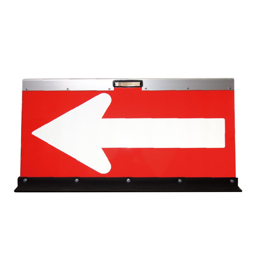 アルミ製折りたたみ矢印板(方向指示板)H500×W900(高輝度プリズム)赤地/白矢印