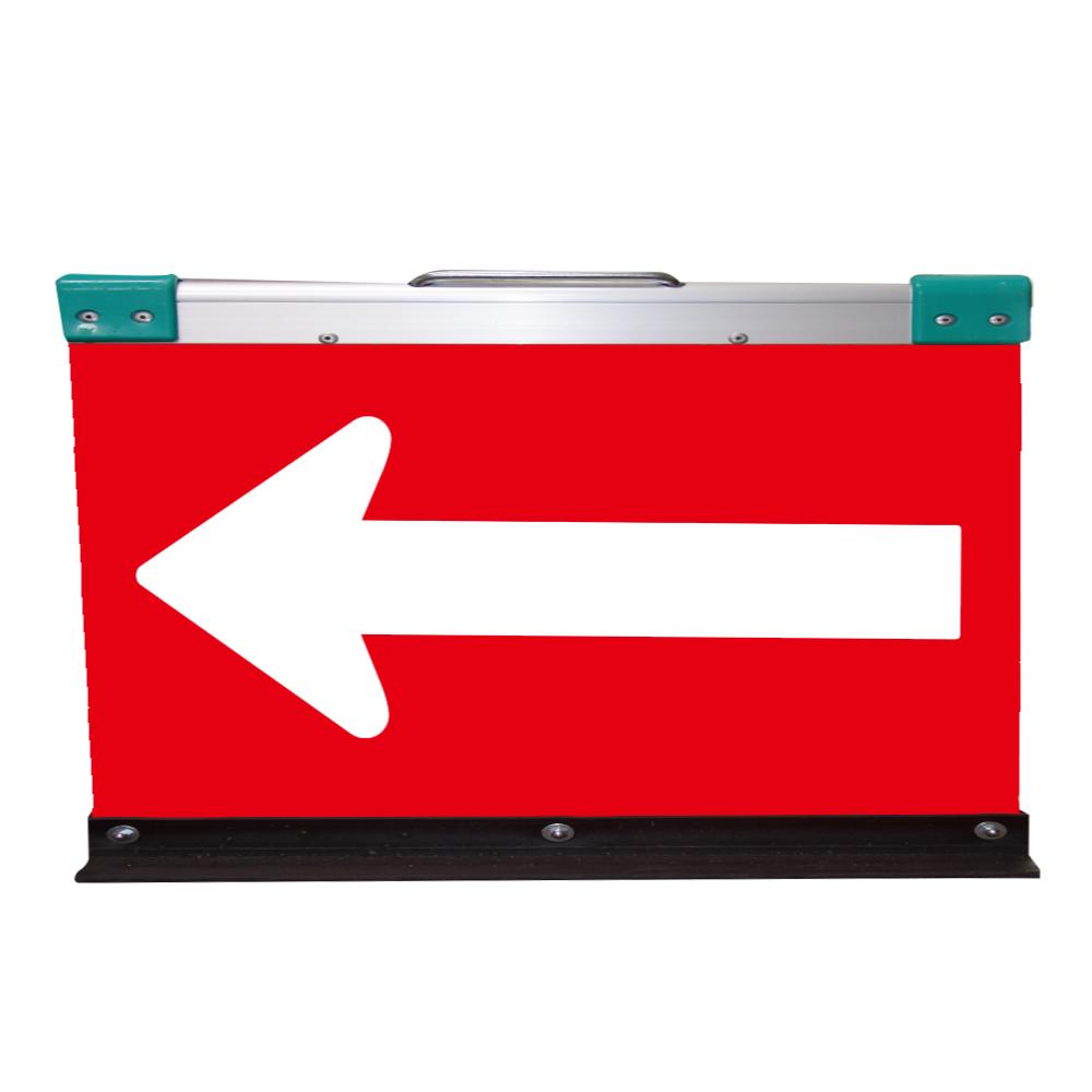 アルミ製山型矢印板(方向指示板)H500×W900(超高輝度プリズム)赤地/白矢印