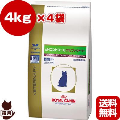 送料無料・同梱可 ベテリナリーダイエット 猫用 ドライ pHコントロール オルファクトリー 4kg×4袋 ロイヤルカナン▼b ペット フード キャット猫 療法食 下部尿路疾患