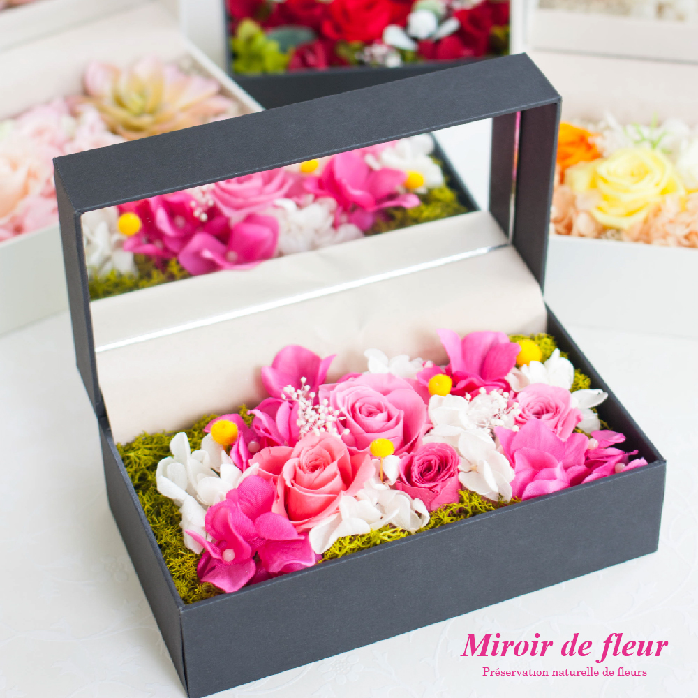 プリザーブドフラワー ボックス ギフト 『Miroir de fleur ミラードゥフルー』 鏡 花 薔薇 バラ アレンジメント 誕生日 結婚祝い 結婚記念日 ブリザードフラワー プレゼント 贈り物 送料無料 クリスマス 【キャッシュレス5%還元】