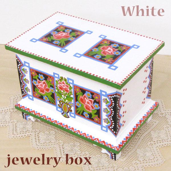 ポーランド フォークアート 木の小箱 木製 小物入れ 宝石箱 ホワイトハンドメイド彩色 東欧雑貨 ジュエリーボックス