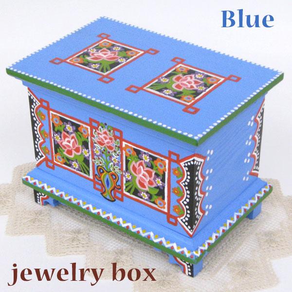 ポーランド フォークアート 木の小箱 木製 小物入れ 宝石箱 ブルーハンドメイド彩色 東欧雑貨 ジュエリーボックス
