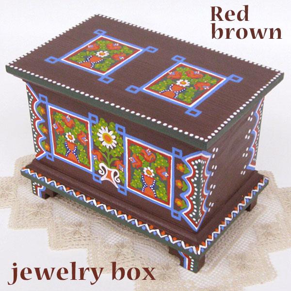 ポーランド フォークアート 木の小箱 木製 小物入れ 宝石箱 レッドブラウンハンドメイド彩色 東欧雑貨 ジュエリーボックス