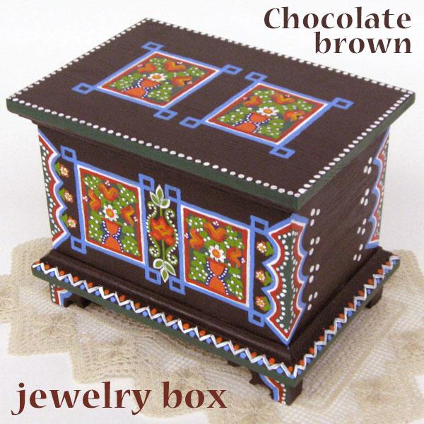 ポーランド フォークアート 木の小箱 木製 小物入れ 宝石箱 チョコレート ブラウンハンドメイド彩色 東欧雑貨 ジュエリーボックス