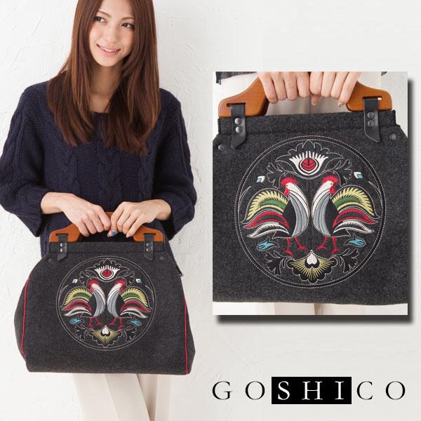 GOSHICO ゴシコ 箱型バッグ フォーク雄鶏 ダークグレーポーランド フォークアート 東欧雑貨