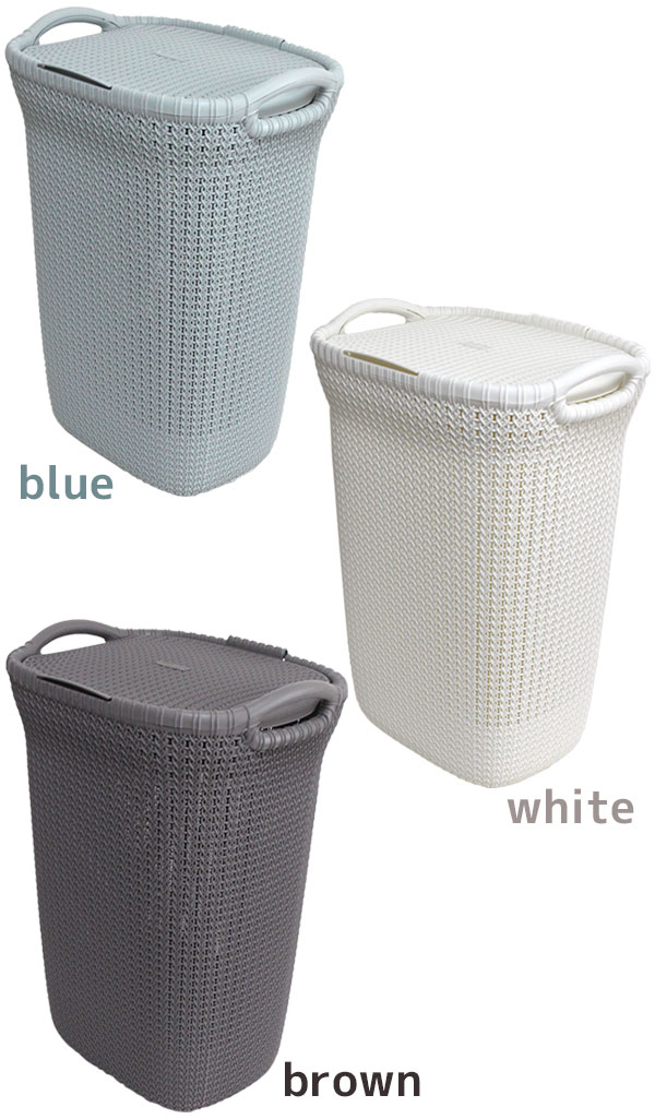Laundry Basket 57l With A Cover That Seems To Be Usable As Storing Of Clothing And Linen Please Choose The Color Among Blue White Three Colors