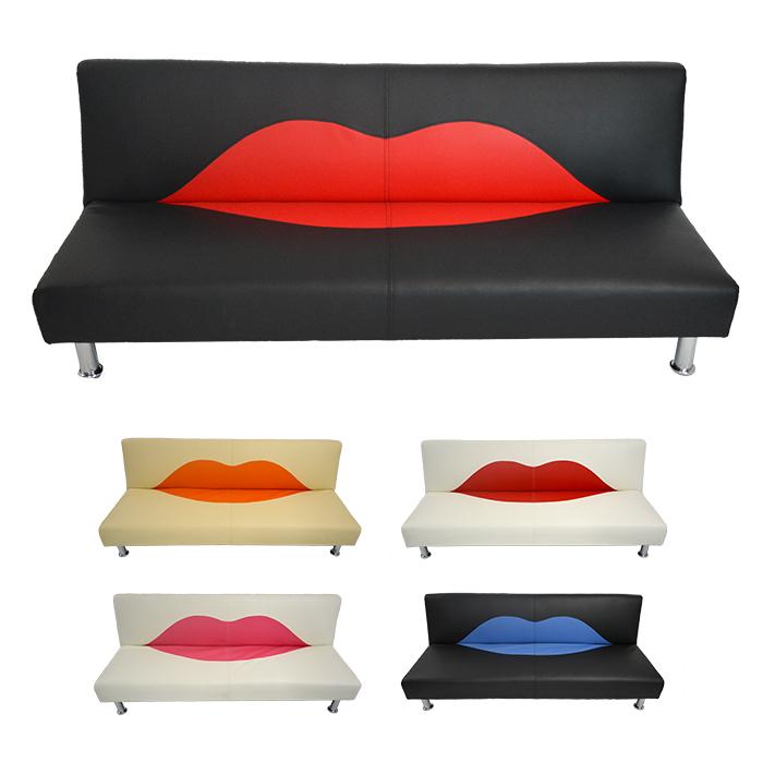 【送料無料】ソファーベッド 3人掛け ソファ 幅 180cm キッス くちびる 唇 ソファ ロータイプ リクライニング ベッド シングル 合皮 PVC 個性的 インスタ映え