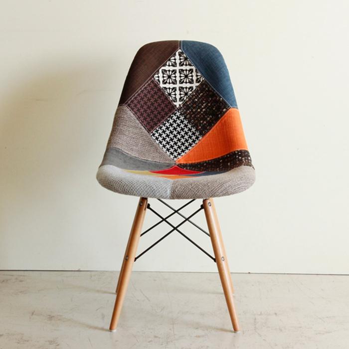 【送料無料】 おしゃれ ダイニングチェア 1脚 パッチ レトロモダン チェア ダイニングチェアー 木製 シェルチェアー 椅子 食卓椅子 いす イス 可愛い 北欧 パッチワーク