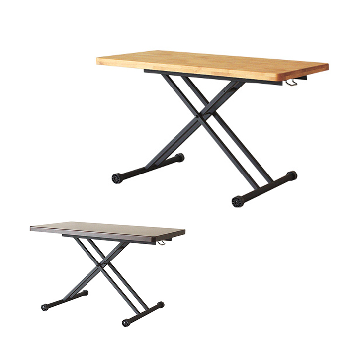 【エントリーでポイント2倍】【送料無料】 昇降式 天然木 テーブル 幅120cm ルディ テーブル 幅120cm ダイニングテーブル テーブル 高さ調節 無垢 テーブル 昇降式 テーブル リビングテーブル 万能テーブル