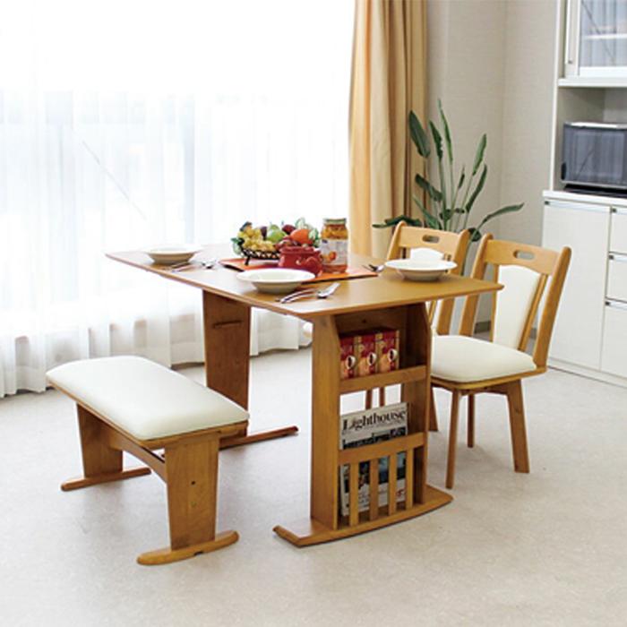 【送料無料】伸長式 ダイニング テーブル チェアー 幅90~120cm 4点セット マスカット ナチュラル 伸長テーブル バタフライタイプ ダイニングテーブル ベンチ 食卓テーブル セット 木製