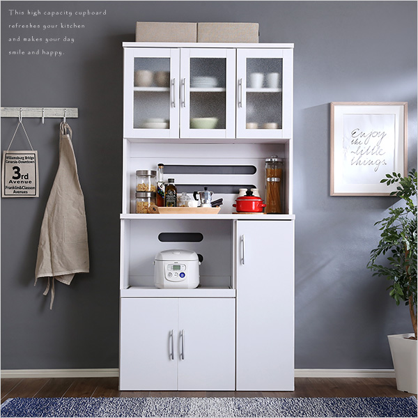 ホワイト食器棚【パスタキッチンボード】(幅90cm×高さ180cmタイプ) sp10