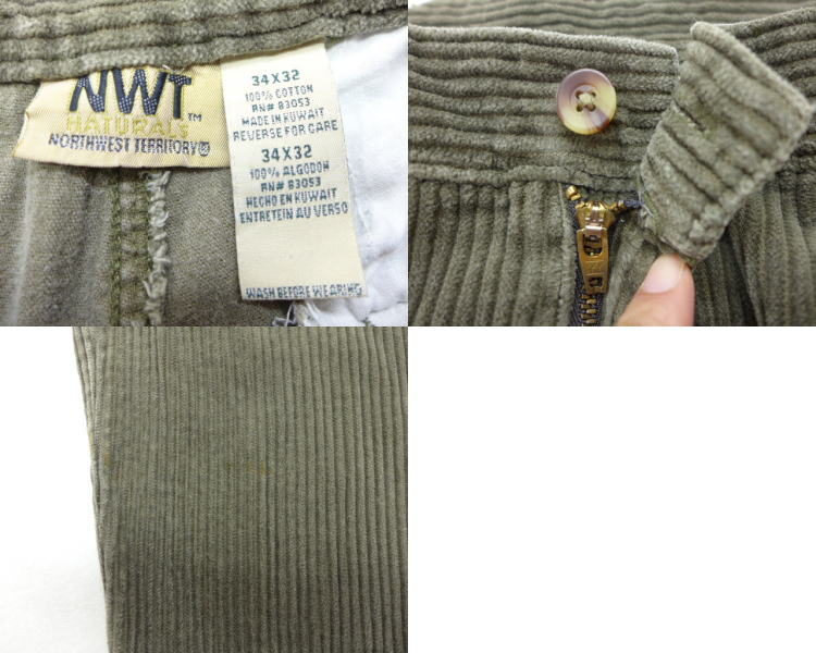 c5a7fcdb879 Old clothes corduroy underwear large furrow green green W34 used men bottoms  are long