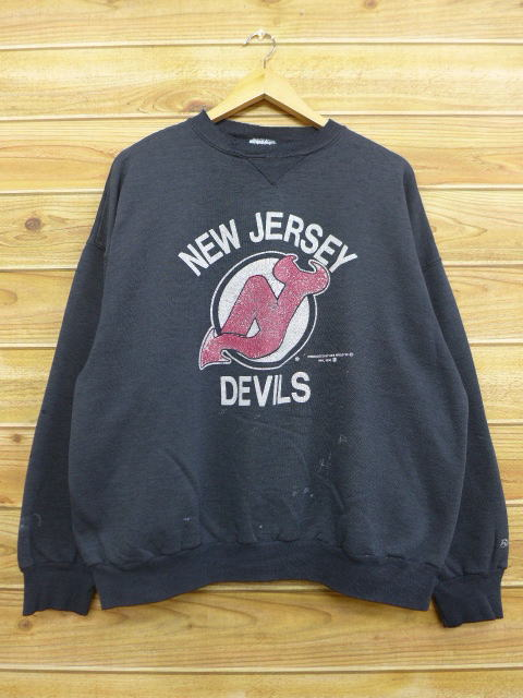 timeless design a9e14 ab4f6 Old clothes sweat shirt NHL New Jersey devils big size black black ice  hockey XL size used men long sleeves sweat shirt trainer tops