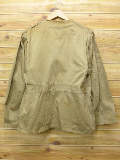 Use of old clothes vintage hunting jacket 10X leather beige khaki large  size used men outer