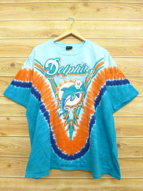 detailed look 099c5 f8d61 Old clothes T-shirt NFL Miami Dolphins big size light blue other tie-dyeing  American football Super Bowl XL size used men short sleeves
