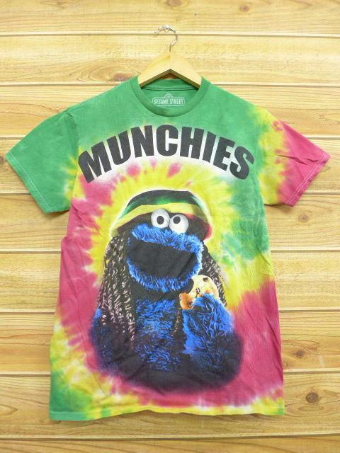Old clothes T-shirt Sesame Street Cookie Monster green other green  tie-dyeing small size used men short sleeves