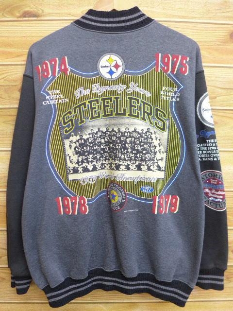 f666f23dd RUSHOUT  Old clothes full snap sweat shirt cardigan NFL Pittsburgh ...
