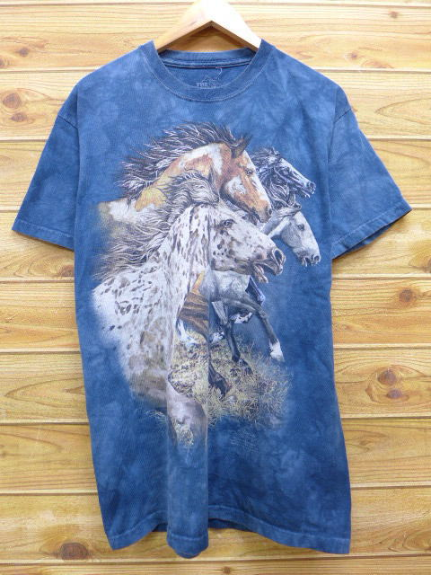 506af4f07ac965 RUSHOUT  Old clothes T-shirt horse dark blue navy tie-dyeing XL size ...