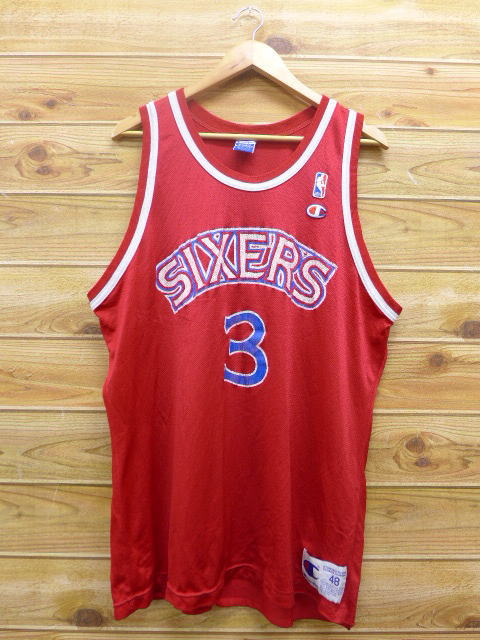 6d35237005d Old clothes vintage tank top champion Champion NBA Philadelphia 76ers 76ers  Allen Iverson red red uniform ...
