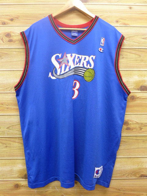 c0ed18e6535 Old clothes tank top champion Champion NBA Philadelphia 76ers 76ers Allen  Iverson big size blue uniform ...