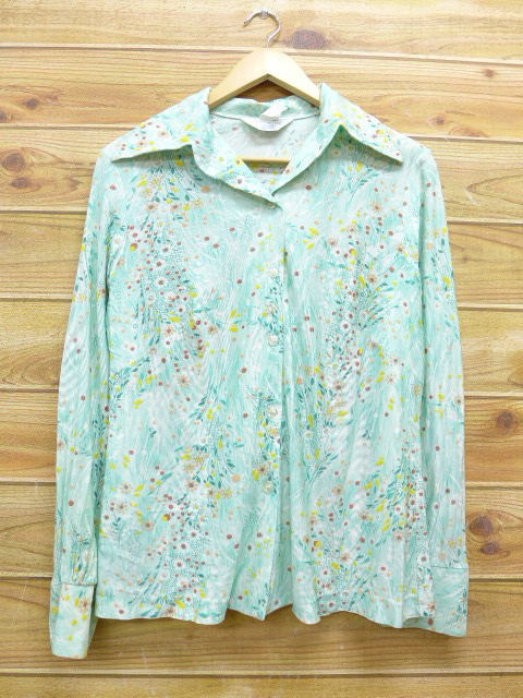 c41eeeb3afe Green used blouse tops of old clothes Lady's long sleeves shirt Sears  flower Midori origin