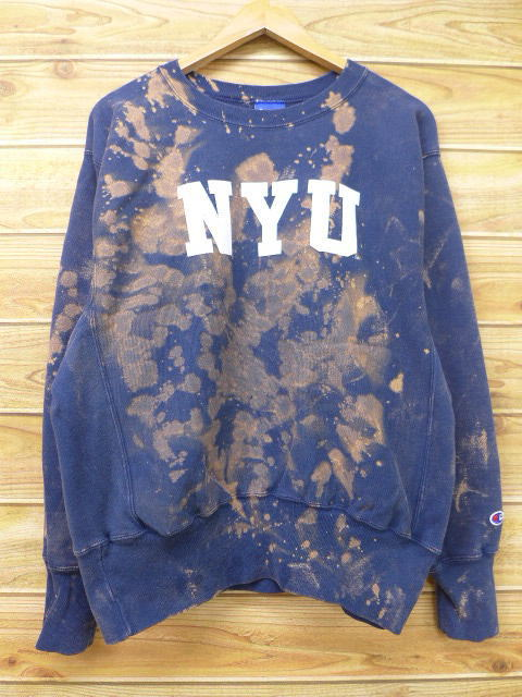 ad4971855fb6 Old clothes Champion champion reverse Wiebe NYU dark blue navy tie-dyeing large  size used ...