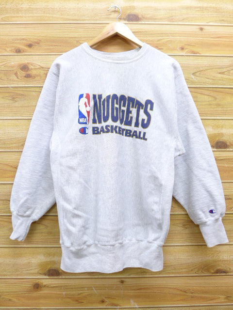 234a970ce35e Old clothes Champion champion reverse Wiebe NBA Denver Nuggets gray marbled  beef large size used men long sleeves sweat shirt sweat shirt trainer tops