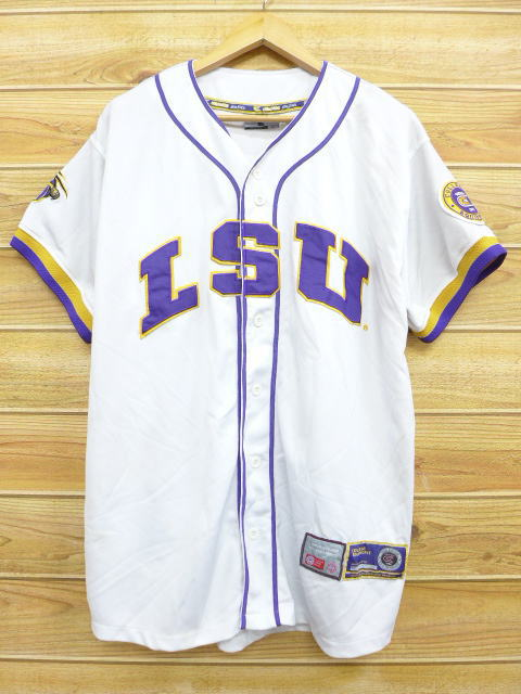 sale retailer ae3f3 9e3be XL size used men tops lightly gray old clothes short sleeves baseball shirt  LSU