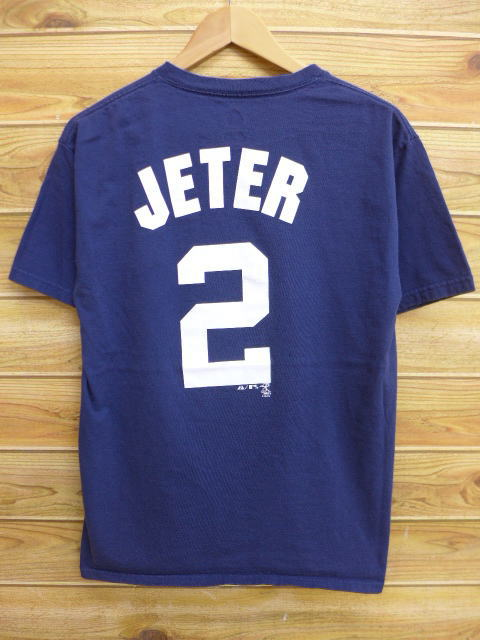Old clothes T-shirt MLB New York Yankees 2 Derek Jeter dark blue navy  medium size used men short sleeves ef393a3f7fa