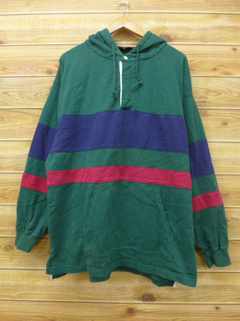 ef3288a3e74 Old clothes long sleeves rugby shirt parka Eddie Bauer big size green other  green horizontal stripe ...