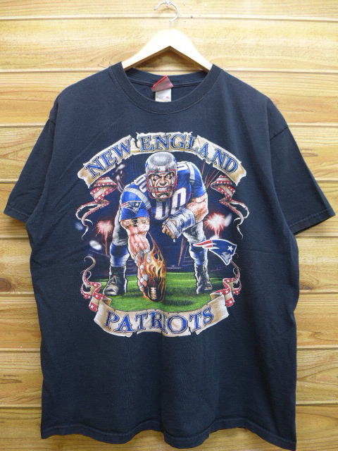 ee039321 Old clothes T-shirt NFL New England Patriots big size black black XL size  used ...