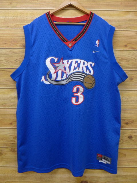 807d6277df0 Old clothes tank top Nike NIKE NBA Philadelphia 76ers 76ERS 3 Allen Iverson  big size blue ...