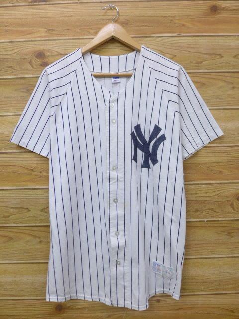 new concept 64a65 56125 Old clothes short sleeves baseball shirt raschel MLB New York Yankees white  white stripe Major League baseball baseball large size used men tops