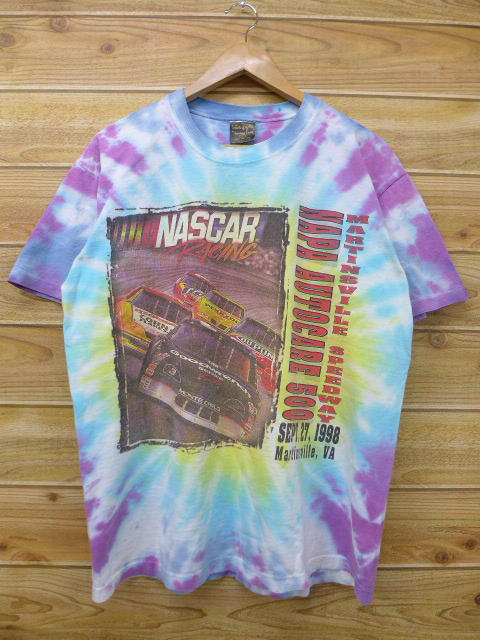 bf3e6654 Old clothes vintage T-shirt NASCAR racing car light blue tie-dyeing large  size ...