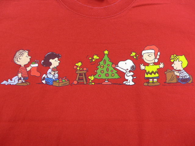 old clothes t shirt peanut snoopy snoopy charlie brown christmas red red large size used men short sleeves